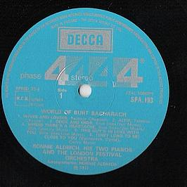 The World Of Burt Bacharach - Ronnie Aldrich & The His Two Pianos* With Lond