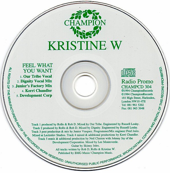 KRISTINE W - FEEL WHAT YOU WANT - RADIO PROMO - CHAMPION - CD - MR752949